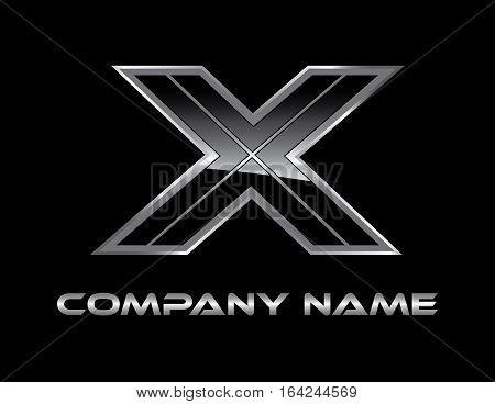 X silver modern logo on black bakground