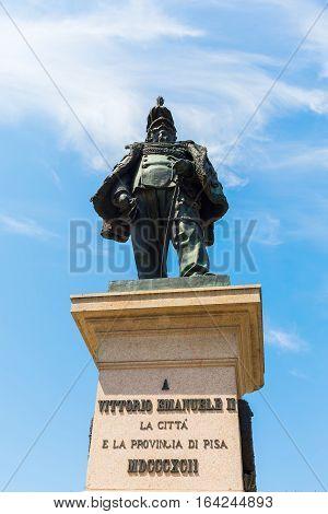 Statue Of Vittorio Emanuele Ii In Pisa, Italy