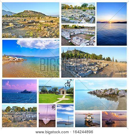 photo collage of Eretria Euboea Greece - ancient theater - dreams island beach - sunset boats