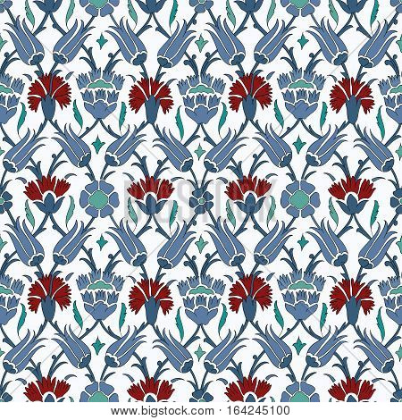 Traditional Arabic  ornament seamless. Floral Ornamental pattern. Iznik. Vector.  Background