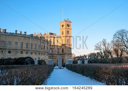 Gatchina Palace. View of the Palace and the Clock Tower from the alley of the Private garden. Winter photo.