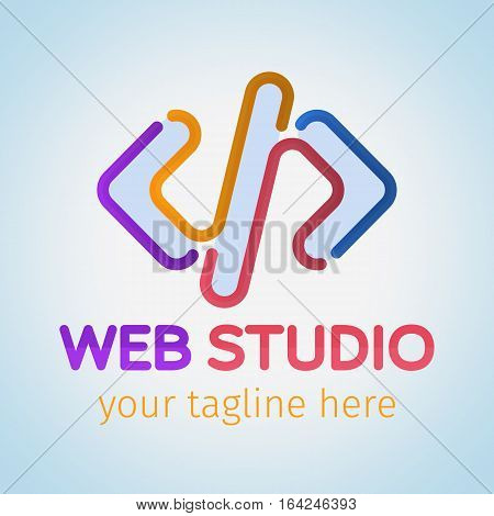 Logo for web studio painted colored flowing lines.. Software and app for design company logo. Web studio or website agency logo. Material design colors. Vector illustration.