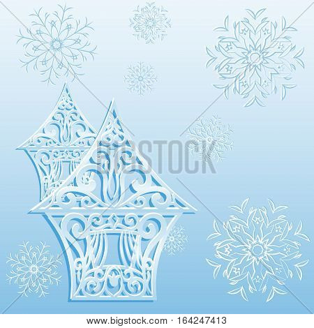 Figured ice lodge with snowflakes. Vector illustration.