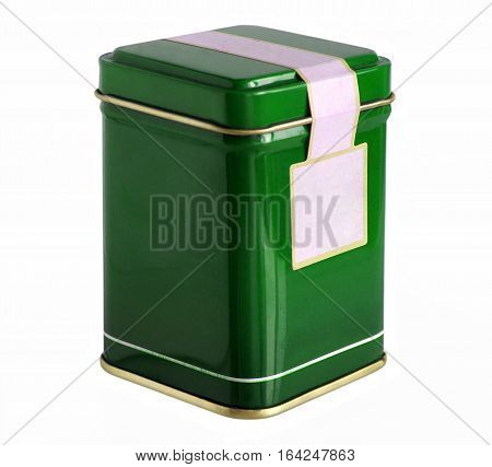 Green metal packaging tin or box for tea coffee dry products with blank label isolated on a white background