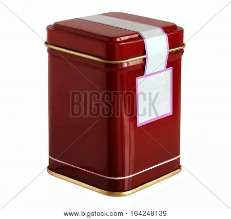 Red metal packaging tin or box for tea coffee dry products with blank label isolated on a white background