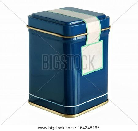Blue metal packaging tin or box for tea coffee dry products with blank label isolated on a white background
