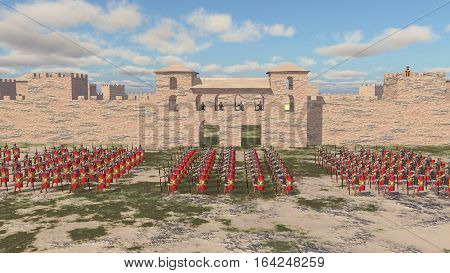 Computer generated 3D illustration with a Roman military camp and legionaries