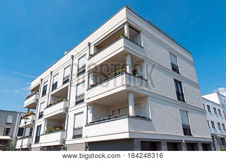 White apartment house seen in Berlin, Germany