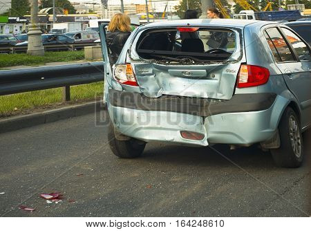 MOSCOW RUSSIA - MAY 20 2014: group car accident with the participation of girls drivers