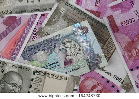 UAE Dirhams between Indian New Currency Bank Notes