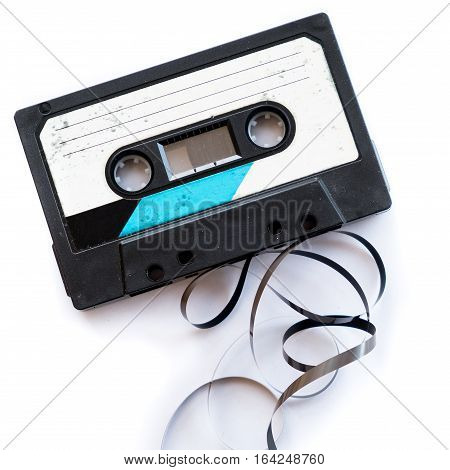audio tape blank label rolled out isolated white playlist