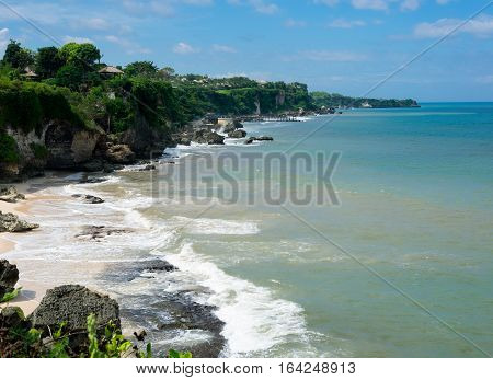 Balinese landscape at secluded beach near Pura Segara Tegalwangi Temple, Bali island, Indonesia
