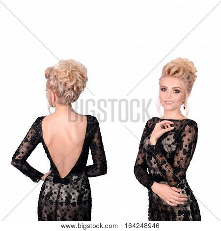 Beautiful blonde woman in elegant black low cut back evening dress with updo hairstyle. Front and back view isolated on white background. Free space for text.