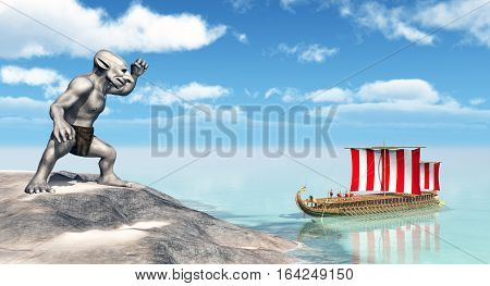 Computer generated 3D illustration with Odysseus at the Cyclopes