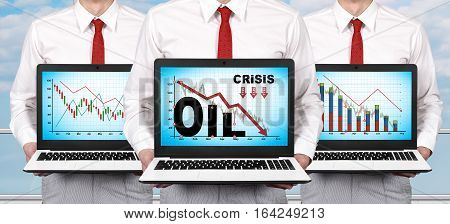 Laptop With Crisis Chart On Screen