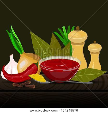 Condiments and spices vector illustration on the dark background. Spicy seasoning and flavoring vector illustration.