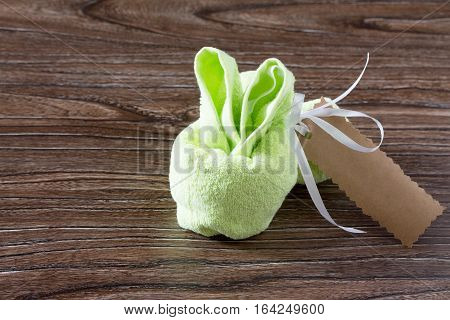 Terry Cloth Towel Children Present. Copy Space. Gift Of Towels Rabbit On A Birthday Or Easter. Child