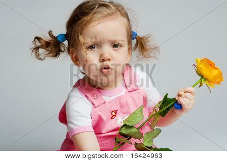 Cute toddler with orange rose in hand, on grey background