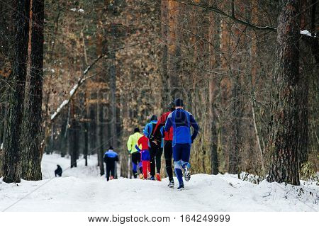 back a group of male runners running winter woods marathon