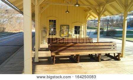 Seating area at a quaint railway station.
