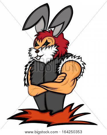 Rabbit Bodyguard with Arms Crossed Cartoon Character. Vector Illustration.