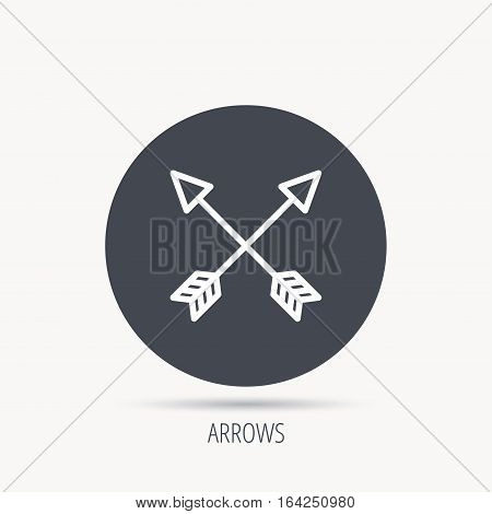 Bow arrows icon. Hunting sport equipment sign. Archer weapon symbol. Round web button with flat icon. Vector