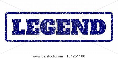 Navy Blue rubber seal stamp with Legend text. Vector caption inside rounded rectangular frame. Grunge design and unclean texture for watermark labels. Horisontal sticker on a white background.