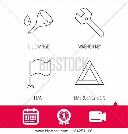 Achievement and video cam signs. Flag pointer, emergency sign and wrench key icons. Emergency triangle, oil change linear signs. Calendar icon. Vector