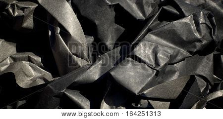 Crumpled Upthick Black Paper