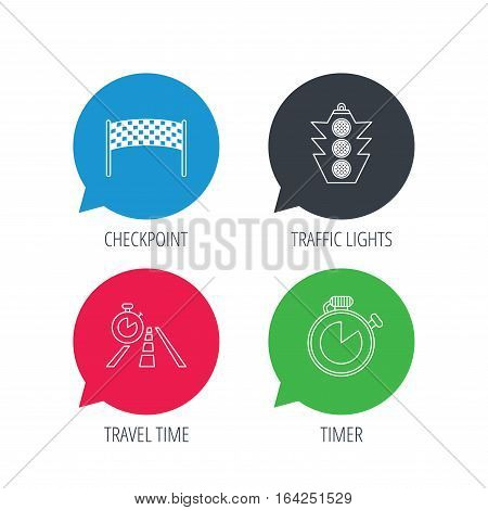 Colored speech bubbles. Checkpoint, traffic lights and timer icons. Travel time, road linear signs. Flat web buttons with linear icons. Vector