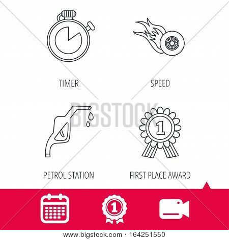 Achievement and video cam signs. Winner award, petrol station and speed icons. Race timer linear sign. Calendar icon. Vector