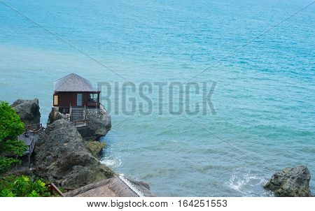 BALI INDONESIA DECEMBER 2016 : Private villa on the top of the rock at the sea edge Ayana Resort.