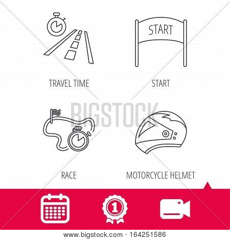 Achievement and video cam signs. Motorcycle helmet, race timer and travel time icons. Start race linear sign. Calendar icon. Vector