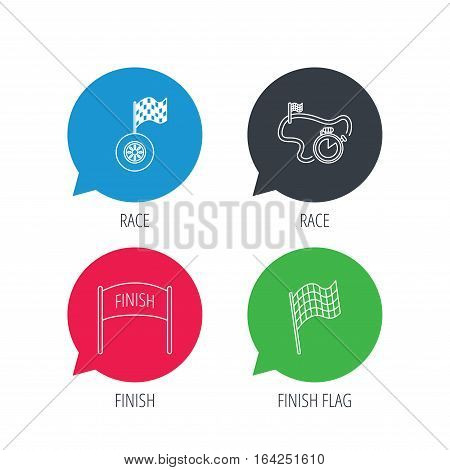 Colored speech bubbles. Finish flag, race timer and wheel icons. Race track linear sign. Flat web buttons with linear icons. Vector