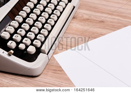 Old Typewriter With Slip Of Paper