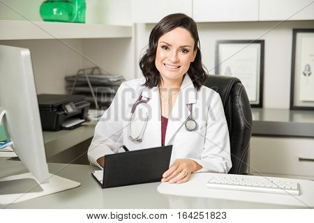 Cute Doctor Prescribing Some Medicine