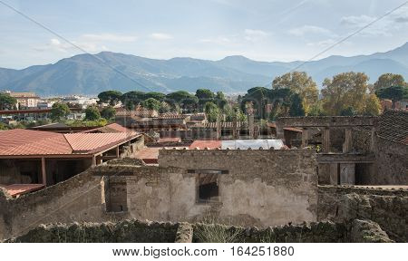 POMPEII ITALY- NOVEMBER 13 2016: panorama of Pompeii. It was declared in 1997 by UNESCO World Heritage Site with about 3 million visitors last year.