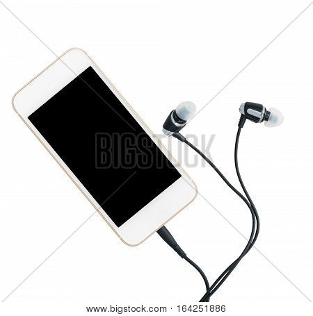 MP3 digital music player built into smartphone or mobile phone with earbuds isolated against a white background