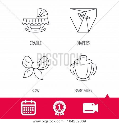 Achievement and video cam signs. Baby mug, diapers and cradle bed icons. Bow linear sign. Calendar icon. Vector