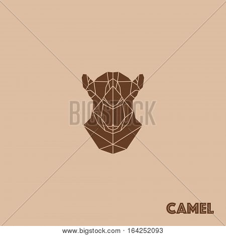 Abstract triangle geometric camel isolated on brown background for use in design for card invitation poster banner placard or billboard cover.
