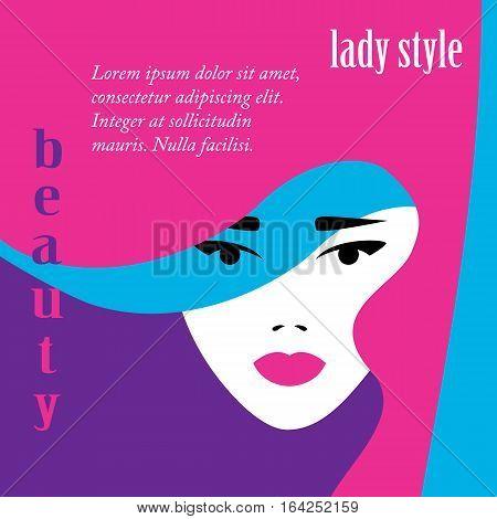 Fashion lady retro style, beautiful woman face, makeup visage, Vector illustration.