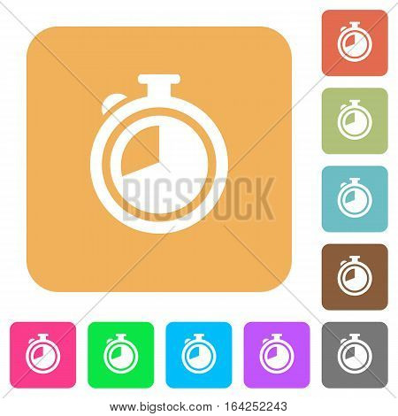 Timer flat icons on rounded square vivid color backgrounds.