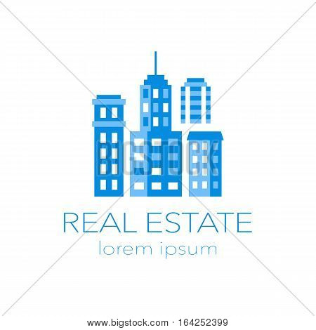Real Estate Logo. Modern vector illustration with buldings