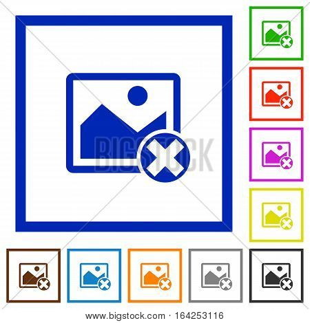 Cancel image operations flat color icons in square frames on white background
