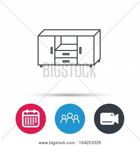 Chest of drawers icon. Interior commode sign. Group of people, video cam and calendar icons. Vector