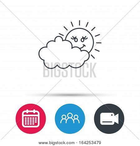 Cloudy day with sun icon. Overcast weather sign. Meteorology symbol. Group of people, video cam and calendar icons. Vector