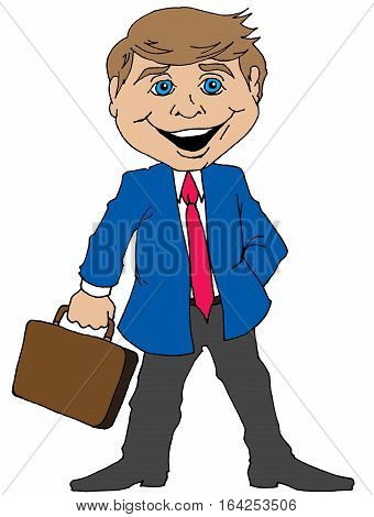 Humorous Illustration of a Cartoon Businessman with a Briefcase