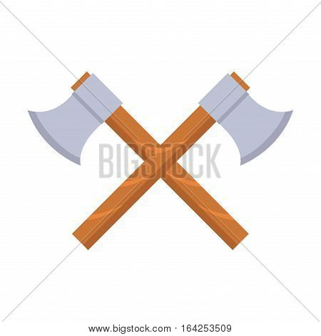 Axe weapon dangerous sign. Vector illustration of sword spear. Edged traditional weapon. Combat andbonder bayonet cold protection or attack steel arms.