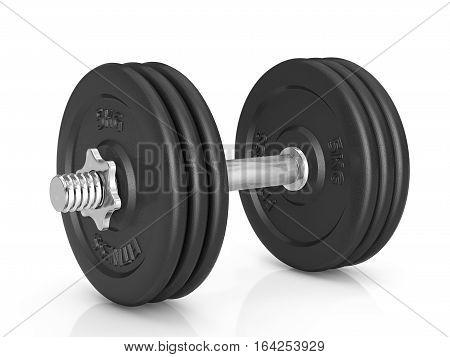 Fitness exercise dumbbell on a white background. 3D illustration.
