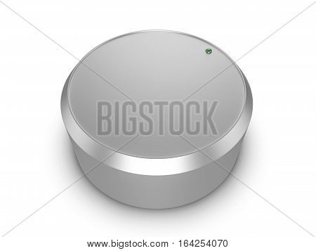 Metal sound volume control knob. 3d Illustration.